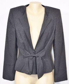 LIZ CLAIBORNE SUIT PETITE Black Patterned Blazer Jacket 14P Lined Ties in Front #LizClaiborne #Blazer