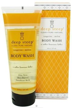 Deep Steep: Shea Butter Body Wash, Tangerine Melon 8 oz (2 pack) by Deep Steep. $11.64. DOUBLE VALUE PACK! You are buying TWO of Tangerine Melon Body Wash - 8.45 oz - Liquid. Quantity: MULTI VALUE PACK! You are buying Description: BODY WASH,TANGERINE MELON Unit Size: 8 OZ Brand: DEEP STEEP. BODY WASH,TANG MLN. Our organic moisturizing body wash offers a rich, creamy lather while gently and effectively cleansing your skin. Combines Shea & Mango butters to hydrate and...