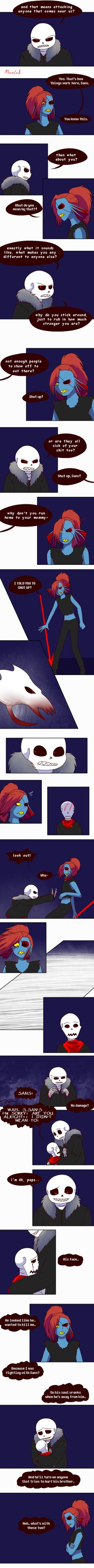 Previous: First: Next: It's easy to forget things aren't nice in Underfell, gotta keep your guard up, Sans.(This idea was given by and I knew I had to draw it)