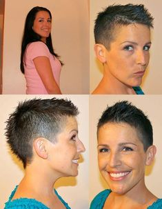 These bobs short girl hairstyles are trendy. Very Short Hair, Short Hair Styles Easy, Short Hair Updo, Short Hair Cuts, Pixie Hairstyles, Short Hairstyles For Women, Pixie Haircut, Cute Short Haircuts, Hair Dos