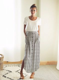 Striped maxi skirt with buttons down the front