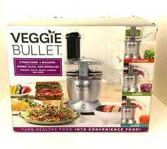 Veggie Bullet 3 Function Shred Slice & Spiralize Machine 6 piece set #NutriBullet