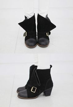 Style your outfit up a notch with these buckled mix media boots. Chilly day cramping your style? Then wear these with an embossed white fit and flare dress plus black tights. - Loose cuffs - Buckled front strap - Leather toe caps - Chunky heels - Color: Black