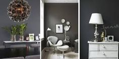 love this color Dark Walls, Beautiful Bedrooms, Vanity, Living Room, Mirror, House, Color, Furniture, Home Decor