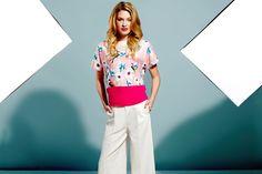 Floral Bird Colour Panel Blouse £85 Wide Leg Trouser £99