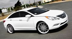 Lexani Wheels, the leader in custom luxury wheels.  White Hyundai Sonata with white custom LX-10 wheels Pinterest : @imanikeisha