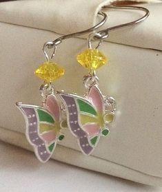 Silver Butterfly Earrings Spring Colors Pastel Pink Purple Yellow Enamel Plated #Unbranded #DropDangle
