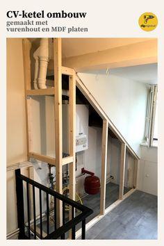 Ombouwkast voor je cv ketel – Home Dekor Attic Bathroom, Attic Rooms, Attic Spaces, Dyi Bathroom, Attic Renovation, Attic Remodel, Bedroom Layouts, Home Remodeling, Villa