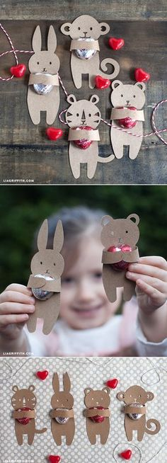 DIY: Kids Valentine's Candy Huggers (Free template) by liagriffith - Diy For Kids Kinder Valentines, Valentines Bricolage, Valentine Day Crafts, Easter Crafts, Holiday Crafts, Holiday Fun, Kids Crafts, Christmas Diy, Craft Projects