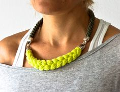 neon yellow statement necklace rope