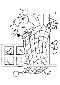 Image à colorier d'une petite souris entrain de dormir dans sa chambre