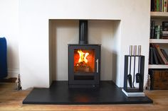 Stove installation process in an Edwardian house (Manchester) Wood Burner Fireplace, Home Fireplace, Fireplaces, Fireplace Ideas, Fireplace Decorations, Brick Fireplace, Log Burner Living Room, My Living Room, Log Burning Stoves