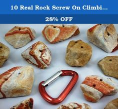 """10 Real Rock Screw On Climbing Wall Hand Holds. Each hold is hand crafted from 100% natural southwest desert rainbow sandstone just the way Mother Nature created it. These hand holds are not just realistic, they are """"REAL"""". They are as close as you can get to a real outdoor climbing experience. Real rock hand holds are strong, long lasting, increase climbing confidence, and build real finger strength. They are great for both adults and children. I personally select, hand craft, and…"""