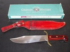 Vintage-US-Western-Coleman-W49-Bowie-Fighting-Knife-Fixed-Blade-Leather-Sheath