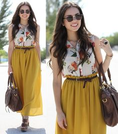 Floral and mustard! (by Daniela Ramirez) http://lookbook.nu/look/3464383-Floral-and-mustard