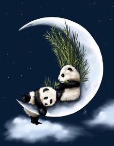 "Panda Digital Painting ""Heaven Of Rest"" by Veronica Minozzi♥🌸♥ Cute Panda Wallpaper, Animal Wallpaper, Panda Wallpapers, Cute Cartoon Wallpapers, Animal Paintings, Animal Drawings, Panda Lindo, Panda Painting, Tier Wallpaper"