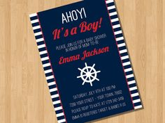Ahoy Nautical Baby Boy Shower Invitation  I by PinkPaisleyDesigns1, $10.00 (Option 6) - Like the blue. Don't love the font.