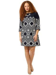 Geometric Shift Dress In Navy & Ivory by Taylor Dresses, Available in sizes 10W/12W,14W/16W,18W/20W/22W and 24W