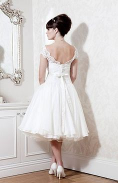 New Lace White Ivory Wedding Dress Bridal Gown Tea Length Custom Size Ebay Dresses