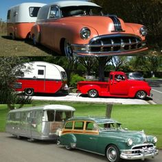 Vintage Cars Vintage cars and vintage trailers- this is exactly the kind of work we do at Timeless Rides and Rods! We love putting together a vintage vehicle to match the era of the vintage trailer it pulls. Tiny Trailers, Vintage Campers Trailers, Retro Campers, Vintage Caravans, Camper Trailers, Retro Rv, Custom Trailers, T1 Bus, Vw T1