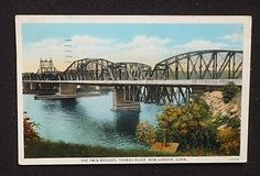 Thames RR Bridge 1934 - before the Gold Star Memorial Bridge in Groton-New London, Connecticut crossing the Thames River.