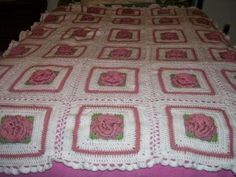 Grandaughters 3D rose crocheted handmade afghan