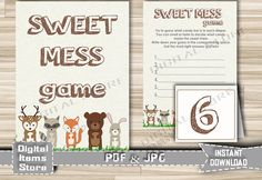Baby Shower Sweet Mess Game Printable Woodland by DigitalitemsShop