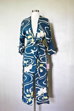Vintage Couture  Kimono - Royal Cobalt Blue,Asian, Hand painted, Silk Screened // Floral Robe, Designer Lounge Wear on Etsy, 1717,24kr