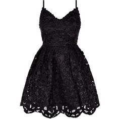 Black Laser Cut Out Strappy Skater Dress ($43) ❤ liked on Polyvore featuring dresses, vestidos, short dresses, black, fit and flare dress, special occasion dresses, skater dress, cocktail dresses and short evening dresses