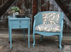 Teal Caned Barrel Back Chair by FunCycled