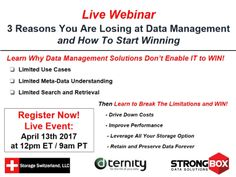 Organizations managing data have a competitive advantage over organizations that don't. In this webinar Storage Switzerland and Dternity/StrongBox Data Solutions will discuss the three reasons why organizations are losing the data management battle, and provide guidance on how to start winning the battle.