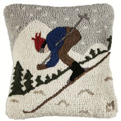 Downhill Skier Hooked Wool Pillow