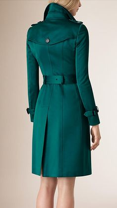 Bright teal Cotton Sateen Trench Coat - Image 3