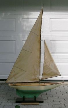 C 1925 Large Complete Antique Pond Boat Yacht W Sails Free Shipping | eBay