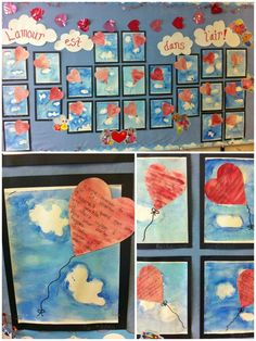 Love Heart Art Projects for Valentines Day Grade 1 Art, Valentines Day Activities, Art Lessons Elementary, Valentine Day Crafts, Art Classroom, Art Plastique, Art Activities, Teaching Art, Heart Art