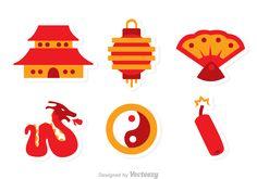 Flat Design Icons, Flat Icons, Icon Design, Chinese Icon, Brand Identity Design, Logo Design, Chinese Birthday, Chinese New Year Design, Chinese Crafts