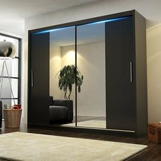 Mirrored Sliding Doors Create Beautiful Light Effects Inexpensively Wall Wardrobe Design, Sliding Door Wardrobe Designs, Wardrobe Interior Design, Luxury Bedroom Design, Bedroom Furniture Design, Home Room Design, Home Decor Bedroom, Modern Bedroom, Modern Wardrobe Designs