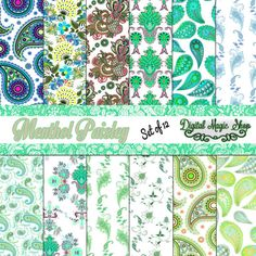 12 Menthol Paisley Pattern Digital Papers Pack by DigitalMagicShop, $2.50