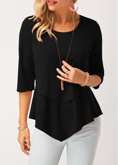 Stylish Tops For Girls, Trendy Tops, Trendy Fashion Tops, Trendy Tops For Women Trendy Tops For Women, Stylish Tops, Petite Tops, Casual T Shirts, Half Sleeves, Plus Size Outfits, At Least, Fashion Outfits, Style Fashion