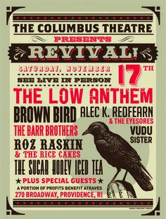 Columbus Theatre rebirth show. Love Design, Retro Design, Concert Posters, Music Posters, Brown Bird, Special Guest, Graphic Design Inspiration, Editorial Design, Hand Lettering
