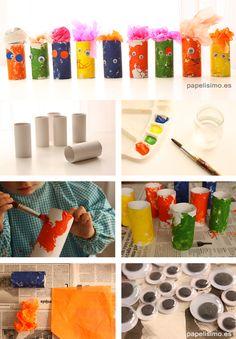 Monstruos-rollos-de-papel-higienico-Diy-paper-tubes Ice Cube Trays, Ideas Para, Teaching, Halloween, Paper, Diy, Scrapbooking, Craft, Ideas