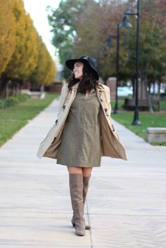 Neutral Color Palette Outfit Of Winter Suede Shift Dress And Over The Knee Boots