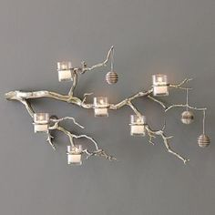 Tree Branch Candle Holder Tree Branch Decor Glass Votive Candle Holder Manzanita Tree Candle Holder Rustic Tree Branch Wall Candle Holder - Everything About Christmas Silver Candle Holders, Glass Votive Candle Holders, Rustic Candle Holders, Unity Candle, Silver Candles, Tree Branch Centerpieces, Tree Branch Decor, Tree Branches, Manzanita Branches