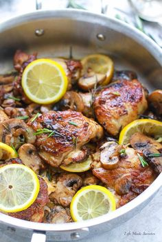 Skillet Rosemary Lemon Chicken cooked entirely in one pan makes the perfect quick, and easy dinner! So crispy, juicy & a hit with the entire family.