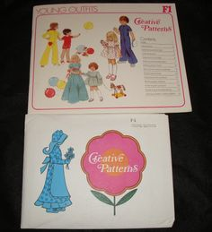"F1 Creative Patterns Childrens Jumpsuits & Party Dress 21-25"" chest vtg 1975"