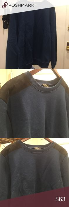 APC sweater with suede shoulder  patches Beautiful A.P.C. Boyfriend wore it once. Has been in his closet. Very good condition. No tears, pulls, etc. the sweater is darker blue than photos show with black suede patches A.P.C. Sweaters Crewneck