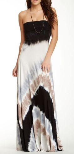 Bangal Strapless Tie-Dye Maxi Dress