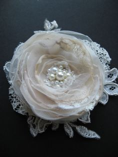 Wedding lace flower, Bridal hair accessories, fascinator Hairpiece, vintage inspired Champagne Cream Ivory Beige Sand Lace Rhinestone