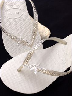 Custom Crystal Havaianas Slim White flip flops Silver starfish ocean sea w/  Swarovski Bling Wedding Dynamite Rhinestone Beach Thong Shoes