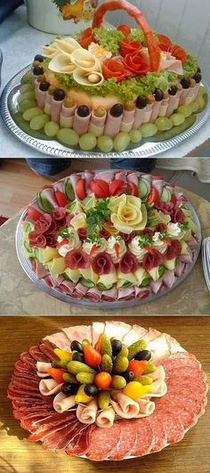 Stunningly beautiful cutting for festive . Deli Platters, Deli Tray, Meat Platter, Food Platters, Meat Appetizers, Appetizers For Party, Appetizer Recipes, Snack Recipes, Cooking Recipes